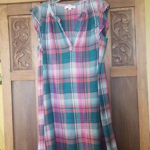 Adorable Loft slip on plaid dress size L